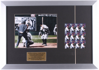 Babe Ruth Yankees 15.5x22 Custom Framed Display with Stamp Sheet