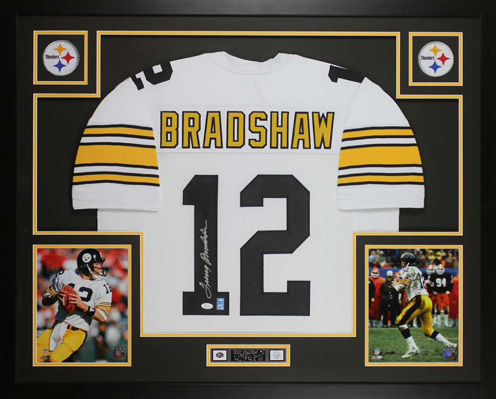 bdbdfd7eda7 Terry Bradshaw Signed Steelers 35x43 Custom Framed Jersey Display (JSA COA    Bradshaw Hologram)