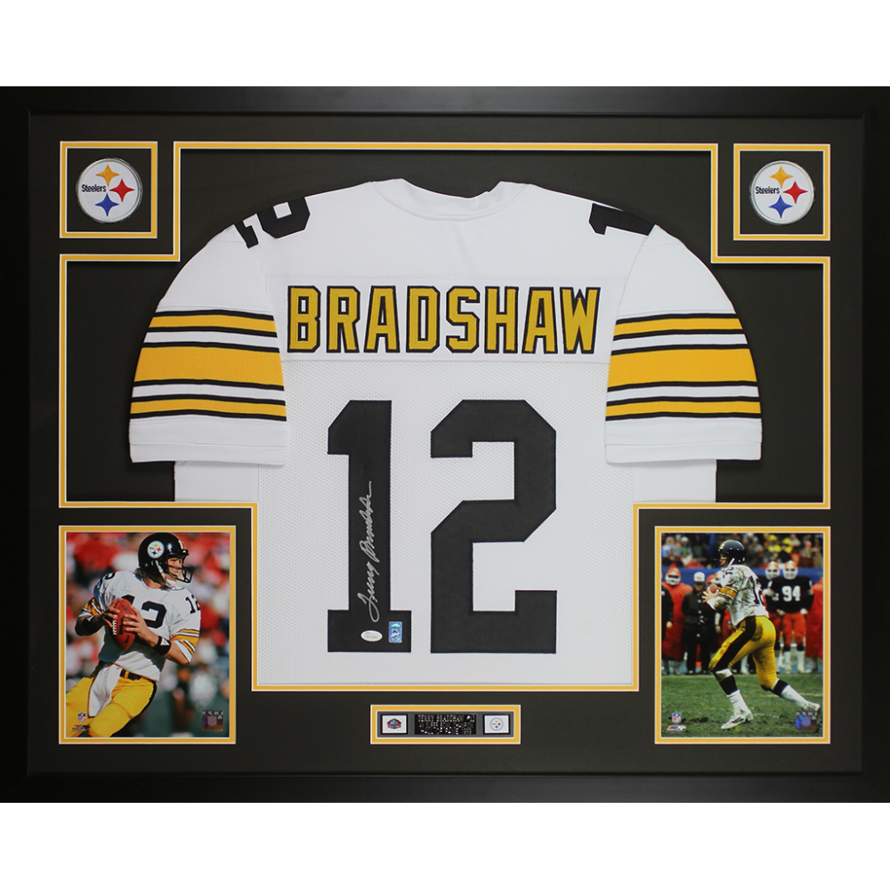 cd3ca363eec Terry Bradshaw Signed Steelers 35x43 Custom Framed Jersey Display (JSA COA    Bradshaw Hologram)