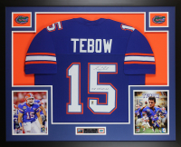 "Tim Tebow Signed Florida Gators 35x43 Custom Framed Jersey Display Inscribed ""07 Heisman"" (Tebow COA) at PristineAuction.com"