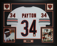 Walter Payton Signed Bears 35x43 Custom Framed Jersey Display with (5) Career Highlight Stat Inscriptions (PSA LOA)