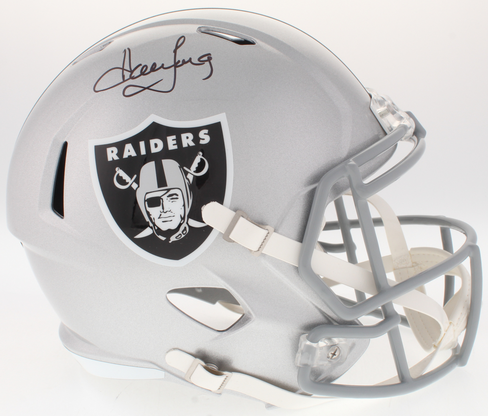 9404537f260 Howie Long Signed Raiders Full-Size Speed Helmet (JSA COA)