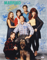 Married With Children 16x20 Photo Cast-Signed by (6) With Ed O'Neill, Katey Sagal, David Faustino, Christina Applegate With Multiple Inscriptions (PSA COA)