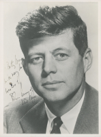 "John F. Kennedy Signed 7.5x10 Photo Inscribed ""With Very Best Wishes"" & ""USS Mass"" (JSA LOA)"