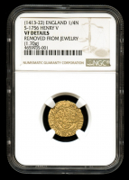 Henry V 1413-22 Great Britain - England Gold 1/4N Quarter Noble S-1756 (1.70g) Medieval Gold Coin (NGC Genuine, VF Details)