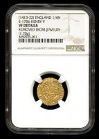 Henry V 1413-22 Great Britain - England Gold 1/4N Quarter Noble (1.70g) Medieval Gold Coin (NGC Genuine, VF Details)
