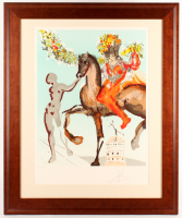 "Salvador Dali Signed ""The Harbinger from the New Jerusalem Suite"" LE 29x35 Custom Framed Lithograph Display (PA LOA)"