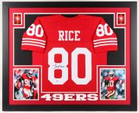 Jerry Rice Signed 49ers 35x43 Custom Framed Jersey (Beckett COA)