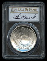 Lou Brock Signed Silver 2014-P $1 One-Dollar Baseball Hall of Fame Silver Coin, Legends of Baseball (PCGS MS 69)