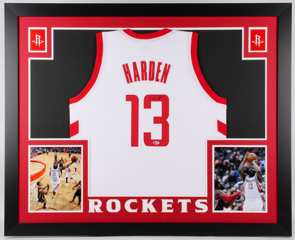 258222219 James Harden Signed Rockets 35x43 Custom Framed Jersey (Beckett COA)