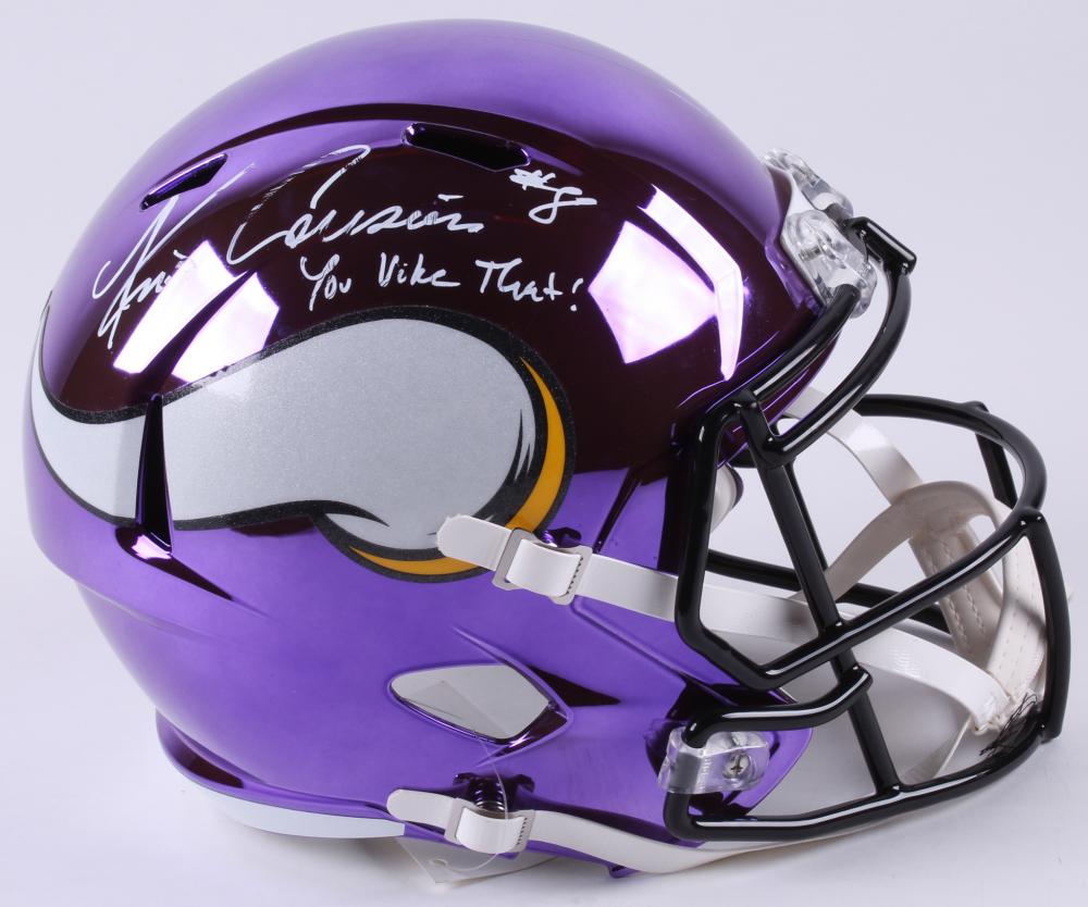 44e9f221741df3 Kirk Cousins Signed Vikings Full-Size Chrome Speed Helmet Inscribed
