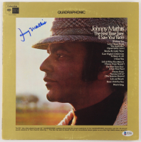 """Johnny Mathis Signed """"The First Time Ever"""" Vinyl Album Cover (Beckett COA)"""