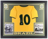 "Pele Signed Brazil 35"" x 43"" Custom Framed Jersey (PSA Hologram)"