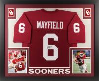 Baker Mayfield Signed Oklahoma Sooners 35x43 Custom Framed Jersey (JSA COA)
