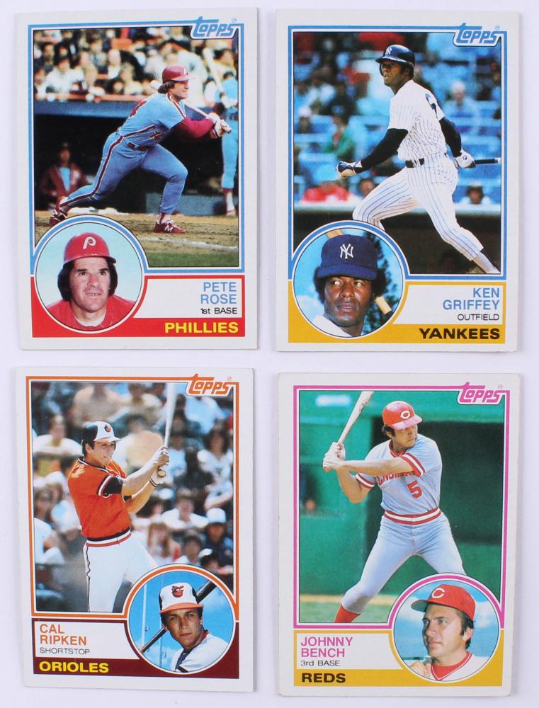 1dd48c8b6f Lot of (4) 1983 Topps Baseball Cards with #163 Cal Ripken, #60 Johnny Bench,  #110 Ken Griffey & #100 Pete Rose