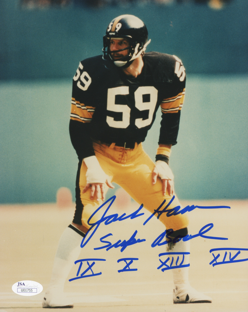 87566ee1025 Jack Ham Signed Steelers 8x10 Photo Inscribed