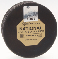 Bobby Orr Signed Official NHL Bruins 50th Anniversary Logo Puck (Orr COA) at PristineAuction.com
