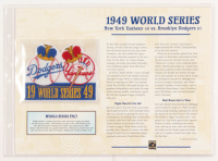 Official Cooperstown Collection 1949 World Series Patch with 9x12 Statistic Card: Yankees vs Dodgers at PristineAuction.com