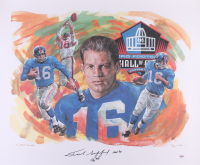 """Frank Gifford Signed AP Giants Hall of Fame 25x30 Lithograph Inscribed """"HOF 77"""" (PSA COA)"""