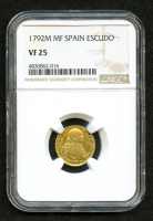 1792-M MF Spain Escudo Gold Coin (NGC VF 25)