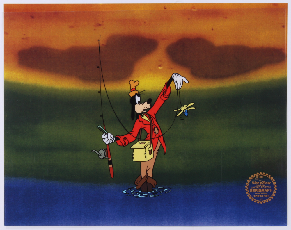 "Walt Disney Goofy ""How to Fish"" 11x14 Animation Serigraph at PristineAuction.com"
