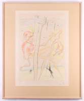 """Salvador Dali Signed """"The Monkey and the Leopard from the Le Bestiaire de La Fontaine Suite"""" LE 28x34 Custom Framed Lithograph Display (PA LOA) at PristineAuction.com"""