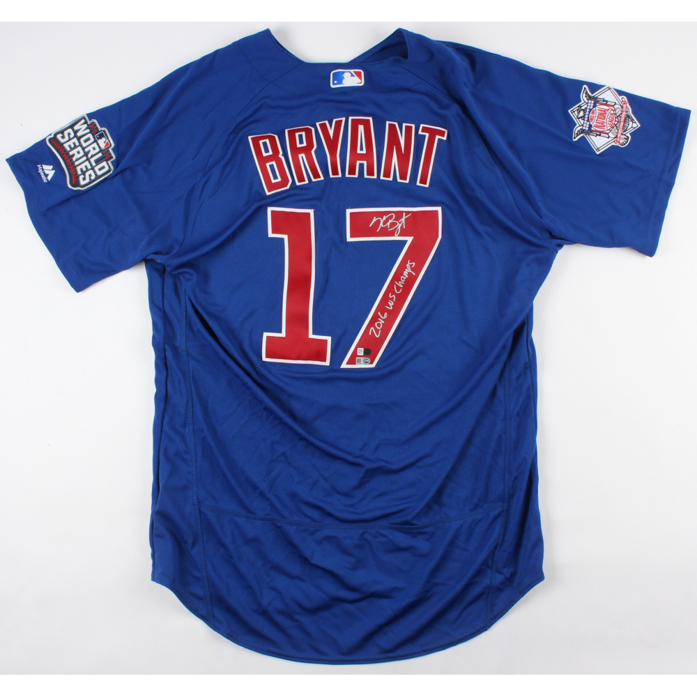 b7bc5923b Kris Bryant Signed Cubs Majestic Authentic 2016 World Series Jersey  Inscribed