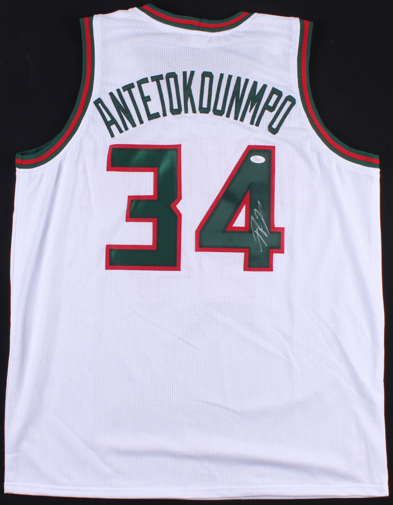 "Giannis Antetokounmpo Signed Bucks Jersey Inscribed ""Greek ..."