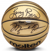 Michael Jordan & Larry Bird Signed Limited Edition Molten Gold Basketball (UDA COA)