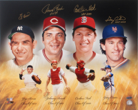 Hall of Fame Catchers 16x20 Photo Signed by (4) With Yogi Berra, Johnny Bench, Carlton Fisk, & Gary Carter With Multiple Inscriptions (Steiner COA) at PristineAuction.com