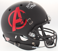 "Stan Lee Signed ""Avengers"" Logo Custom Matte Black Full-Size Helmet (Lee Hologram & Radtke COA)"