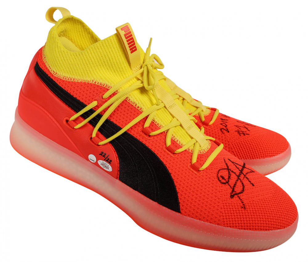 Deandre Ayton Signed LE Pair of (2) Puma Clyde Court Disrupt Basketball  Shoes Inscribed