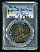 1689 Ireland 1/2 Cr Half Crown, Sepr S-6579D, Gun Money (PCGS Gold Shield AU Details)