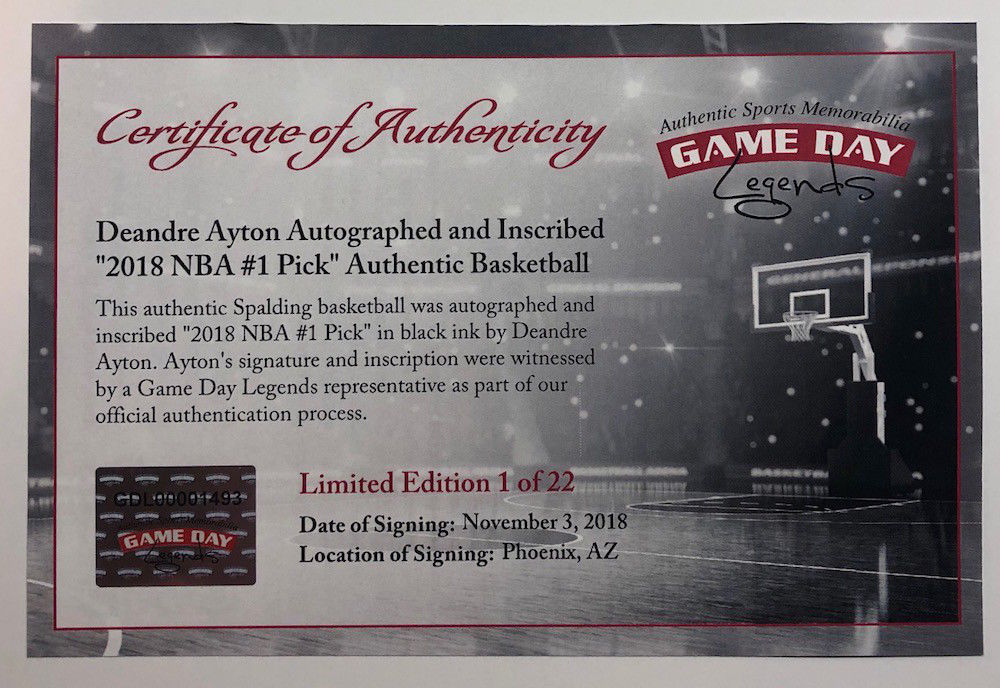 769e3370a768 Deandre Ayton Signed LE Official NBA Game Ball Inscribed