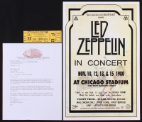 Lot of (2) Led Zeppelin Items with (1) Unused 1980 Chicago Concert Ticket & (1) 11x17 Concert Advertisement Print at PristineAuction.com