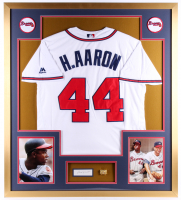 Hank Aaron Signed Braves 34x38 Custom Framed Cut Display (PSA COA) at PristineAuction.com