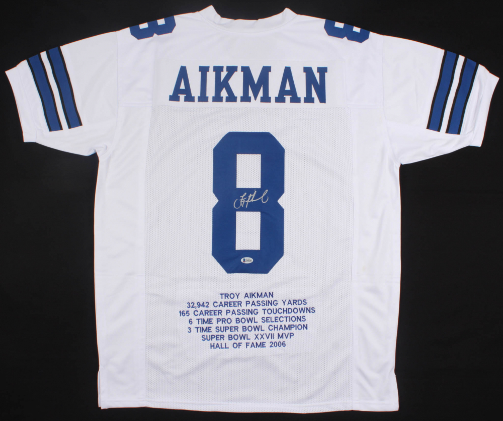 d7e918d90dd Troy Aikman Signed Cowboys Career Highlight Stat Jersey (Beckett COA)