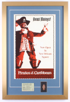 "Disney's ""Pirates of the Caribbean"" New Orleans Square 17x25 Custom Framed Print Display with Vintage Disneyland Admission Ticket & Pirates of the Caribbean Coin"