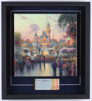 Thomas Kinkade Disneyland 19.5x21.5x2 Custom Framed Print on Canvas Shadowbox Display with Vintage Ticket Booklet