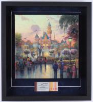 Thomas Kinkade Disneyland 19.5x21.5x2 Custom Framed Print on Canvas Shadowbox Display with Vintage Ticket Booklet