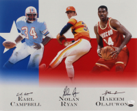 Earl Campbell, Nolan Ryan, & Hakeem Olajuwon Signed 16x20 Photo (JSA COA & Ryan Hologram) at PristineAuction.com