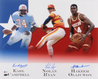Earl Campbell, Nolan Ryan, & Hakeem Olajuwon Signed 16x20 Photo (Beckett COA & Ryan Hologram) at PristineAuction.com