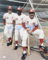 Joe Morgan, Johnny Bench, & Pete Rose Signed Cincinnati Reds 16x20 Photo With Multiple Inscriptions (JSA COA) at PristineAuction.com