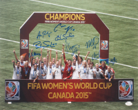 2015 Team USA FIFA Women's World Cup Champions 16x20 Photo Signed By (9) With Hope Solo, Shannon Boxx, Alyssa Naeher, Christen Press (JSA COA)