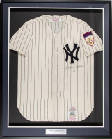 "Mickey Mantle Signed 1951 Yankees 34x41 Mitchell & Ness Custom Framed Jersey Display Inscribed ""NO. 7"" (PSA LOA)"