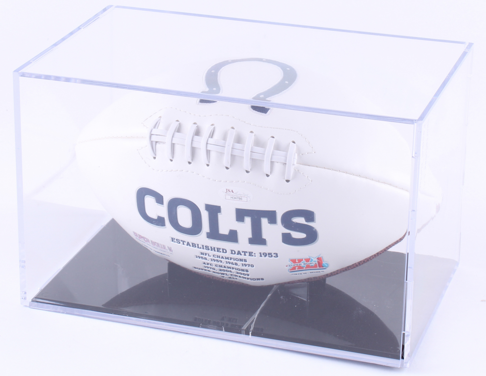 Lenny Moore Gino Marchetti Mike Curtis And Raymond Berry Signed Colts Logo Football With Multiple Inscriptions And Display Case Jsa Coa Pristine Auction