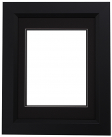 "Custom Frame for 8x10 Photo - Premium Black 2"" Frame with Black/Black Double Matting (Overall Dimensions 14.5"" x 17.5"") at PristineAuction.com"