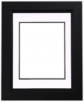 "Custom Frame for 8x10 Photo - Premium Black 2"" Frame with White/Black Double Matting (Overall Dimensions 14.5"" x 17.5"") at PristineAuction.com"