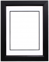 "Custom Frame for 11x14 Photo - Premium Black 2"" Frame with White/Black Double Matting (Overall Dimensions 17.5"" x 21.5"") at PristineAuction.com"