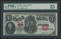 1907 $5 Five Dollars Legal Tender Large Bank Note (PMG 25)